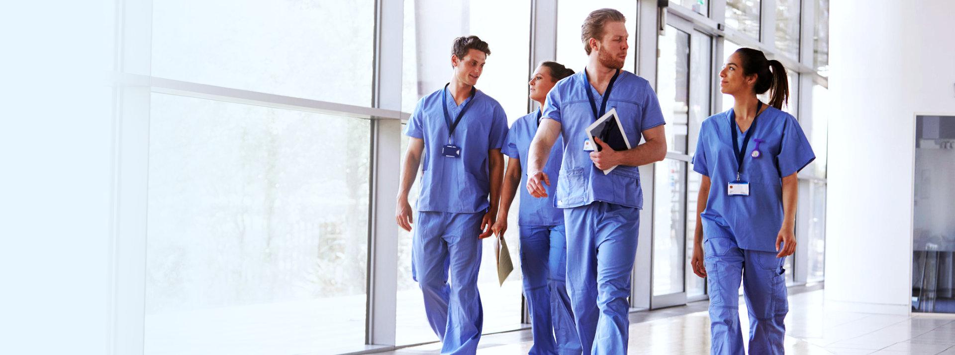 medical staffs walking